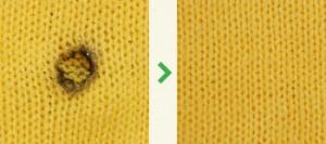 ニットの修理|タバコの焦げ跡の直し